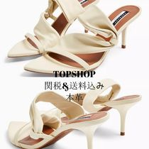 TOPSHOP Open Toe Casual Style Plain Leather Pin Heels Party Style