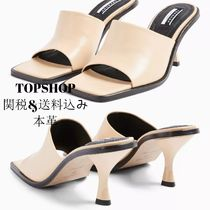 TOPSHOP Open Toe Square Toe Casual Style Plain Leather Block Heels