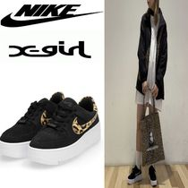 X-girl Leopard Patterns Platform Plain Toe Casual Style Unisex
