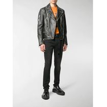 Off-White Short Street Style Plain Leather Biker Jackets