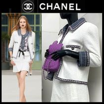 CHANEL Other Check Patterns Tweed Plain Medium Party Style