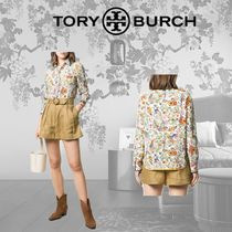 Tory Burch Flower Patterns Casual Style Silk Long Sleeves Party Style