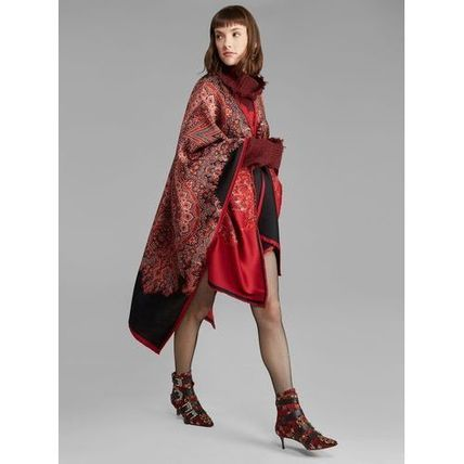 Paisley Wool Oversized Ponchos & Capes
