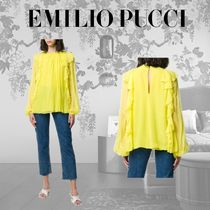 Emilio Pucci Casual Style Silk Long Sleeves Plain Party Style