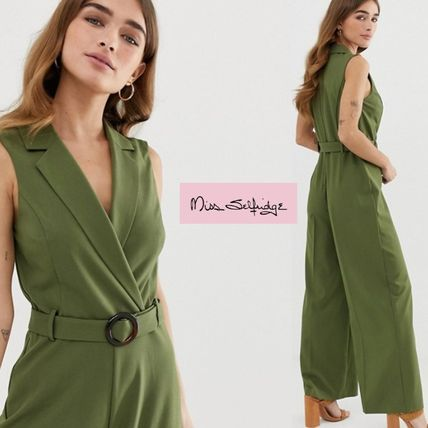Casual Style Street Style Plain Office Style Khaki Dresses