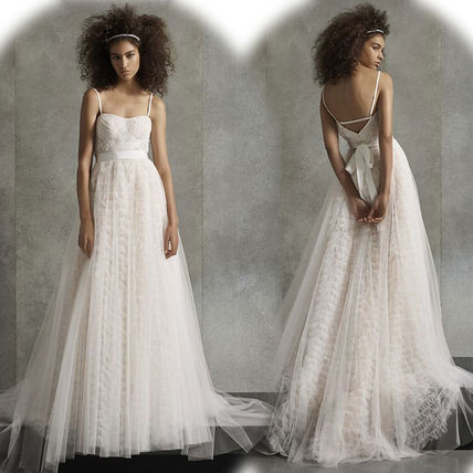 A-line Chiffon Plain Long Wedding Dresses