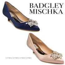 Badgley Mischka Blended Fabrics Plain Leather Party Style With Jewels