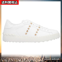VALENTINO Plain Toe Rubber Sole Casual Style Blended Fabrics Studded