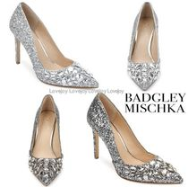 Badgley Mischka Blended Fabrics Plain Pin Heels Party Style With Jewels