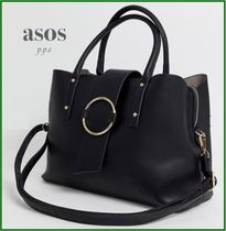 ASOS Casual Style Faux Fur 2WAY Plain Office Style Totes