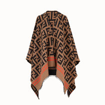 FENDI Monogram Wool Silk Knit & Fur Scarves