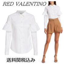 RED VALENTINO Long Sleeves Plain Cotton Elegant Style Shirts & Blouses