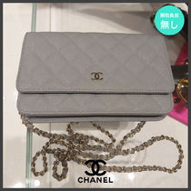 CHANEL CHAIN WALLET Casual Style Calfskin 2WAY Plain Leather Party Style