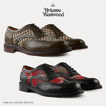 Vivienne Westwood Tartan Zigzag Wing Tip Unisex Blended Fabrics Leather Shoes