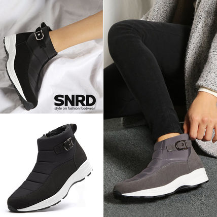 Round Toe Rubber Sole Casual Style Faux Fur Plain