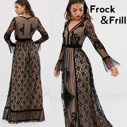 A-line Flared V-Neck Party Style Lace Elegant Style Dresses