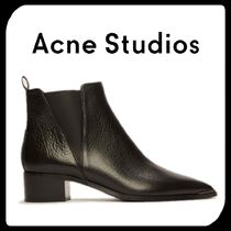 Acne Casual Style Plain Leather Block Heels Chelsea Boots
