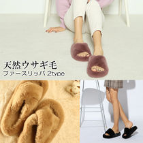 paperplanes Open Toe Rubber Sole Casual Style Faux Fur Plain Slippers