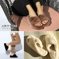 paperplanes Open Toe Rubber Sole Casual Style Fur Plain Slippers Shoes