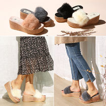 paperplanes Open Toe Casual Style Fur Plain Mules