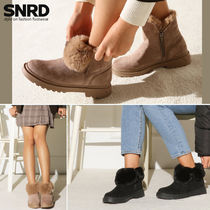 paperplanes Round Toe Casual Style Suede Faux Fur Plain Block Heels