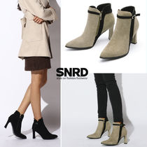 paperplanes Suede Plain Pin Heels Elegant Style Ankle & Booties Boots