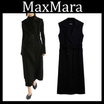 MaxMara Wool Plain Long Elegant Style Vest Jackets