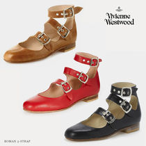 Vivienne Westwood Round Toe Casual Style Blended Fabrics Plain Leather
