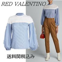 RED VALENTINO Stripes Silk Long Sleeves Cotton Elegant Style