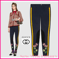 GUCCI Stripes Flower Patterns Casual Style Cotton Long