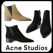 Acne Casual Style Suede Plain Leather Block Heels Chelsea Boots