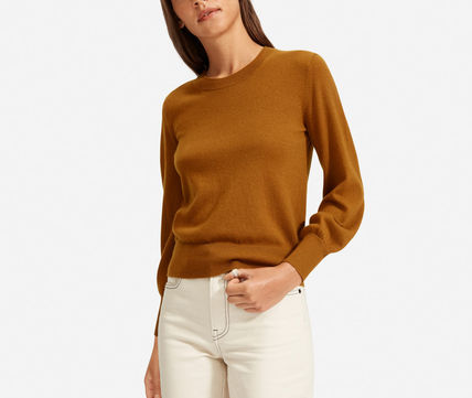 Casual Style Cashmere Long Sleeves Plain Medium Puff Sleeves