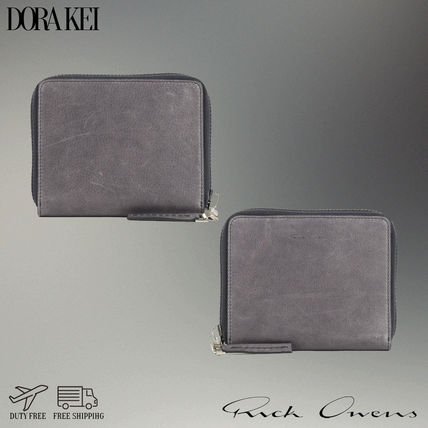 Street Style Plain Leather Logo Coin Cases