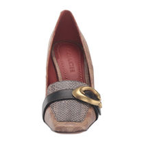 Coach Monogram Square Toe Casual Style Chunky Heels