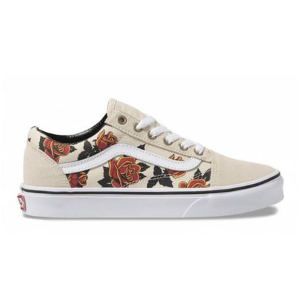 Flower Patterns Casual Style Suede Low-Top Sneakers