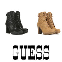 Guess Plain Toe Lace-up Casual Style Street Style Plain Leather