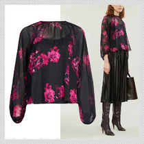 Max Mara Studio Flower Patterns Casual Style Silk Long Sleeves Office Style