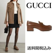 GUCCI Platform Round Toe Blended Fabrics Plain Leather