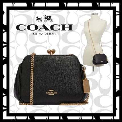 Casual Style Bag in Bag 2WAY Chain Plain Leather Party Style