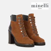 minelli Lace-up Plain Leather Lace-up Boots