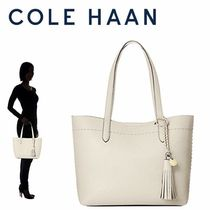 Cole Haan Tassel Plain Leather Office Style Elegant Style Totes