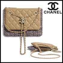 CHANEL Casual Style Lambskin Blended Fabrics 2WAY Chain Party Style