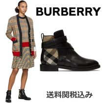 Burberry Other Check Patterns Platform Round Toe Blended Fabrics
