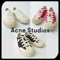Acne Round Toe Rubber Sole Casual Style Unisex Street Style