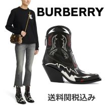 Burberry Cowboy Boots Square Toe Blended Fabrics Leather