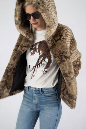 Faux Fur Blended Fabrics Street Style Other Animal Patterns