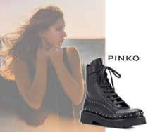 PINKO Round Toe Rubber Sole Casual Style Plain Leather