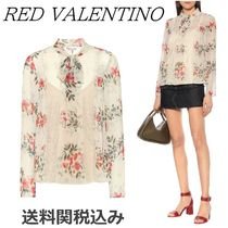 RED VALENTINO Flower Patterns Long Sleeves Elegant Style Shirts & Blouses