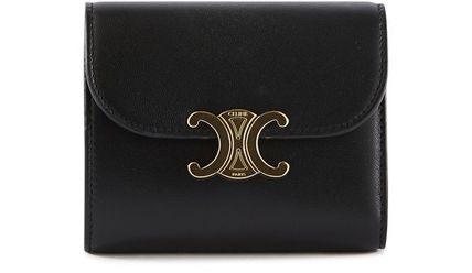 CELINE Triomphe Folding Wallet Small Wallet Logo Unisex Chain Plain