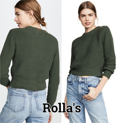 Crew Neck Short Casual Style Long Sleeves Plain Cotton